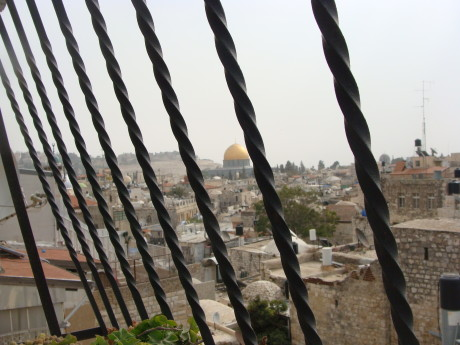 View of Al Aqsa from a home in the Muslim Quarter photo by Mya Guarnieri