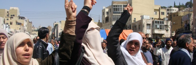 Women protest in Amman (photo: Mya Guarnieri)