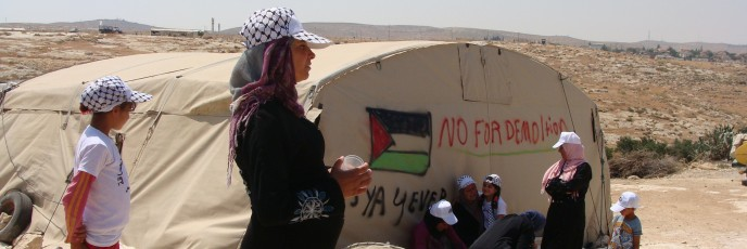 Palestinian women from Susya who are threatened with forced evacuation (photo: Mya Guarnieri)