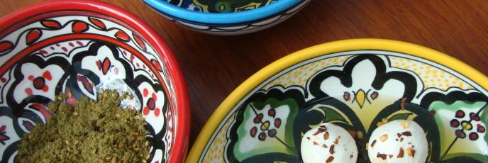 Labneh Zaatar Zeit in Khalili dishes photo by Mya Guarnieri